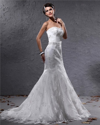 Romantic Wedding Dresses White Lace Mermaid Bridal Wedding Dresses With Train_2