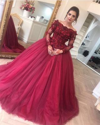 Burgundy Hochzeitskleider Mit Ärmel Prinzessin Spitze Brautkleider Online Bestellen_2