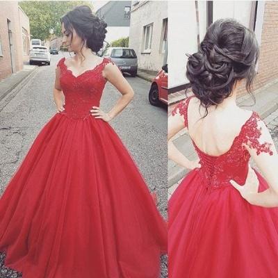Prinzessin Rot Abendkleider Lang Mit Spitze Tüll Abendmoden Abiballkleider_2