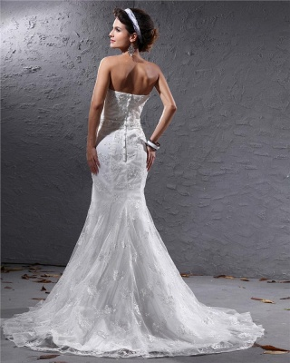 Romantic Wedding Dresses White Lace Mermaid Bridal Wedding Dresses With Train_5