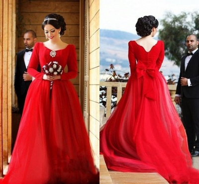 Red Evening Dresses Long Sleeves A Line Organza Evening Wear Prom Dresses_3