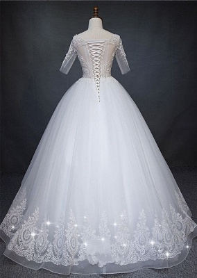Fashion white wedding dresses with short sleeves lace wedding gowns online_2