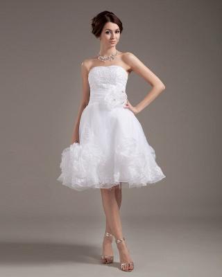 Günstig Kurze Brautkleider Weiß A linie Blumen Brautmoden Hochzeitskleider_2
