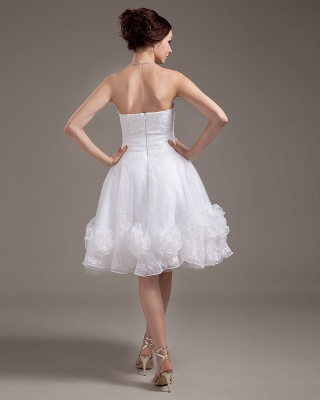 Günstig Kurze Brautkleider Weiß A linie Blumen Brautmoden Hochzeitskleider_4
