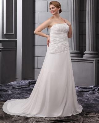 Weiß Brautkleider Übergröße Chiffon A Linie Hochzeitskleider Große Größe Brautmoden_4