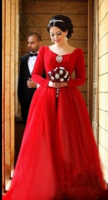 Red Evening Dresses Long Sleeves A Line Organza Evening Wear Prom Dresses_2