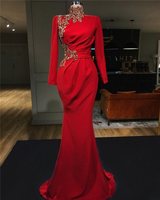 Evening dress red long cheap | Evening dresses with sleeves_1