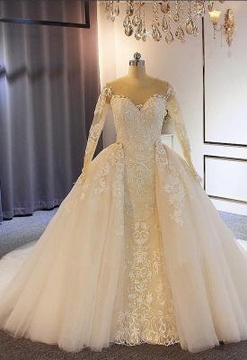Elegante Brautkleider mit Ärmel | A Linie Hochzeitskleider Mit Spitze_1