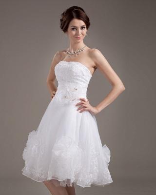 Günstig Kurze Brautkleider Weiß A linie Blumen Brautmoden Hochzeitskleider_3