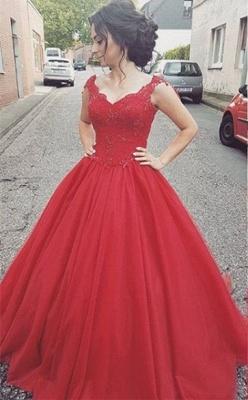 Prinzessin Rot Abendkleider Lang Mit Spitze Tüll Abendmoden Abiballkleider_1