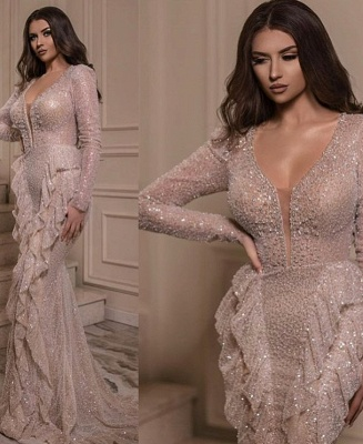 Luxury evening dress with sleeves | Buy sequin long prom dresses online_1