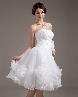 Günstig Kurze Brautkleider Weiß A linie Blumen Brautmoden Hochzeitskleider_5
