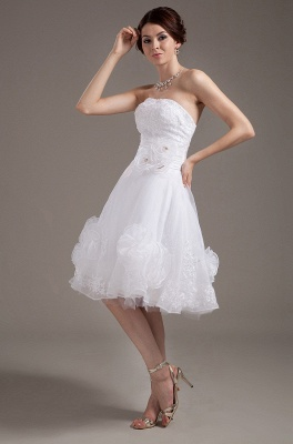 Günstig Kurze Brautkleider Weiß A linie Blumen Brautmoden Hochzeitskleider_1