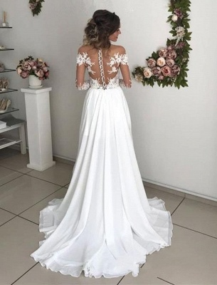 Simple wedding dress with sleeves | Summer wedding dresses with lace_3