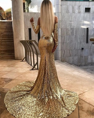 Elegant prom dresses prom dresses gold evening dresses long with sleeves_2