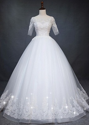 Fashion white wedding dresses with short sleeves lace wedding gowns online_1