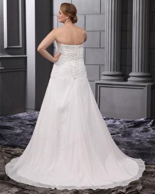 Weiß Brautkleider Übergröße Chiffon A Linie Hochzeitskleider Große Größe Brautmoden_2