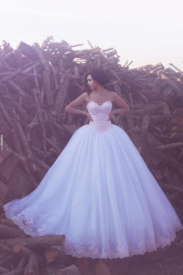 Buy Designer White Wedding Dresses With Lace A Line Wedding Gowns Online_1