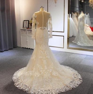 Elegante Brautkleider mit Ärmel | A Linie Hochzeitskleider Mit Spitze_3