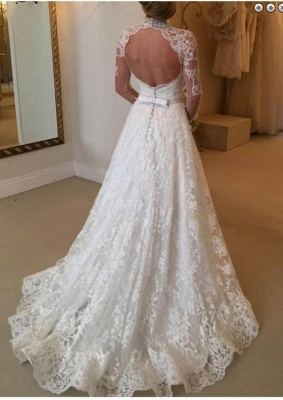 Modern Wedding Dresses Cream With Sleeves Lace A Line Wedding Dress Cheap_2