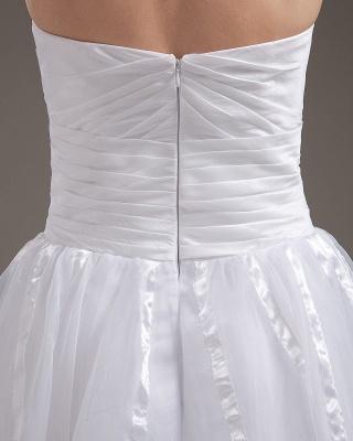 Cheap Wedding Dresses Short White Heart A Line Organza Bridal Wedding Gowns_4