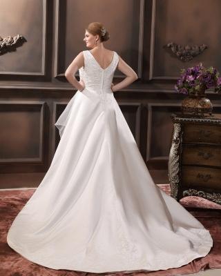 Straps Wedding Dresses Plus Size A Line Taffeta Plus Size Wedding Dresses With Train_3