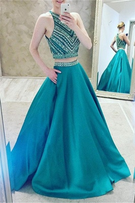 Turquoise 2 Dividers Evening Dresses Prom Dresses A Line Satin Party Dresses_1