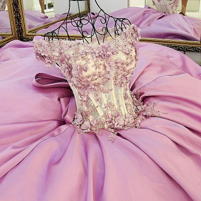 Pink Cheap Quinceanera Dresses Cheap Lace Beaded Taffeta Prom Dresses Online_4