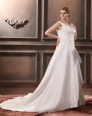 Straps Wedding Dresses Plus Size A Line Taffeta Plus Size Wedding Dresses With Train_4