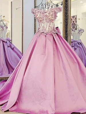 Pink Cheap Quinceanera Dresses Cheap Lace Beaded Taffeta Prom Dresses Online_1