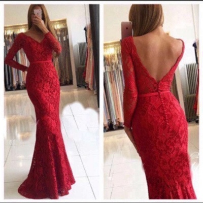 Elegant Red Evening Dresses Lace With Sleeves Floor Length Evening Wear Prom Dresses_2