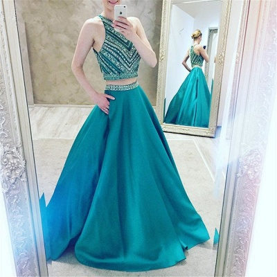 Turquoise 2 Dividers Evening Dresses Prom Dresses A Line Satin Party Dresses_3