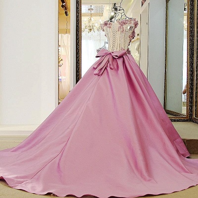Pink Cheap Quinceanera Dresses Cheap Lace Beaded Taffeta Prom Dresses Online_2