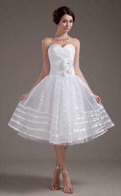 Cheap Wedding Dresses Short White Heart A Line Organza Bridal Wedding Gowns_1