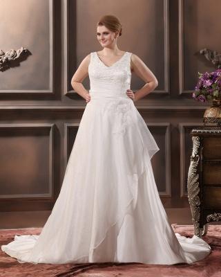 Straps Wedding Dresses Plus Size A Line Taffeta Plus Size Wedding Dresses With Train_1