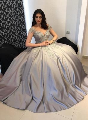 Luxury Silber Quinceanera Kleider Träger Perlen Prinzessin Abendkleider Abiballkleider_1