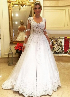 Vintage Wedding Dresses Cream With Sleeves A Line Lace Wedding Dresses_1