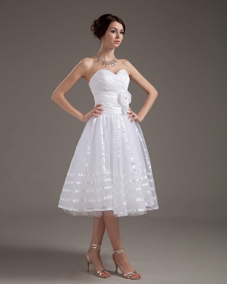 Cheap Wedding Dresses Short White Heart A Line Organza Bridal Wedding Gowns_5