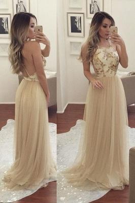 Champagne Long Evening Dresses Tulle Spaghetti Straps Sheath Dress Evening Wear Prom Dresses_1