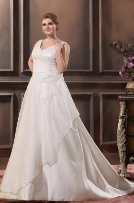 Straps Wedding Dresses Plus Size A Line Taffeta Plus Size Wedding Dresses With Train_2