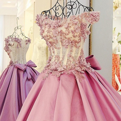 Pink Cheap Quinceanera Dresses Cheap Lace Beaded Taffeta Prom Dresses Online_3