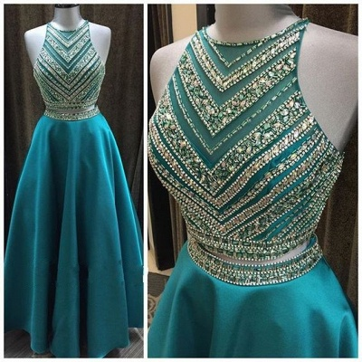 Turquoise 2 Dividers Evening Dresses Prom Dresses A Line Satin Party Dresses_2