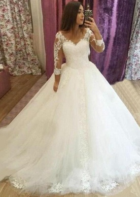 Elegant wedding dresses with sleeves | Wedding dresses lace cheap online_2