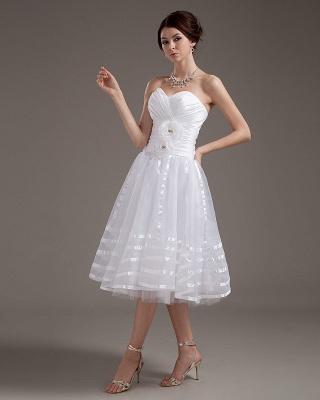 Cheap Wedding Dresses Short White Heart A Line Organza Bridal Wedding Gowns_2