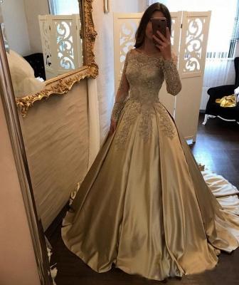 Designer Golden Brautkleider Mit Ärmel Lang Prinzessin Hochzeitskleider Günstig Online_2