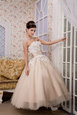 Champagne wedding dresses short with lace tulle calf-length wedding dresses bridal_5