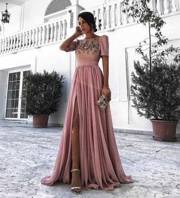 Dusty Pink Evening Dresses Long Cheap With Short Sleeves Beaded Chiffon Evening Dress Prom Dresses_2