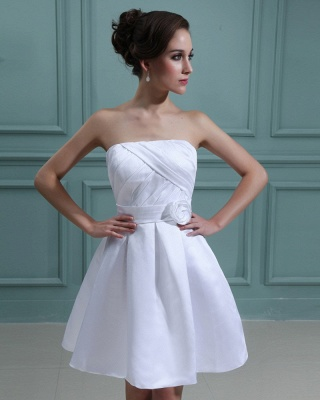 Sweet Wedding Dresses Short White A Line Mini Wedding Dresses Bridal_5