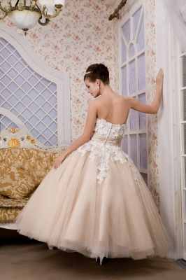 Champagne wedding dresses short with lace tulle calf-length wedding dresses bridal_2