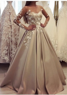 Fashion Champagne Wedding Dresses With Sleeves A Line Wedding Dress Lace Online_1